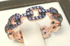 925 Sterling Silver Simulated link Amethyst Eternity Band Ring Sz 7 Rose Gold
