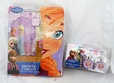 Disney Frozen Elsa Anna Sisters Forever Microfiber Shower Curtain Hooks Set Lot