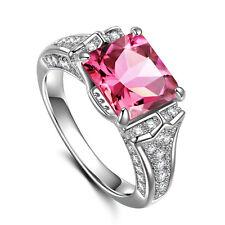 Fashion Women Princess Cut 2.95ct Pink Sapphire 925 Silver New Ring Size 7