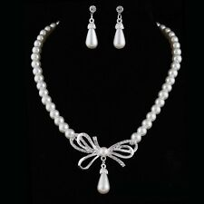 Women's Charm Jewelry Set Pearl Beaded Bowknot Necklace Earrings Wedding Gift
