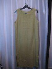 I.V.Y Women's Celery Green Linen Sleeveless Ankle Length Dress Sz 14 Pre-Owned