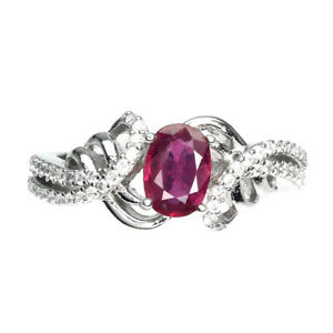 Oval Red Ruby 7x5mm Cz 14K White Gold Plate 925 Sterling Silver Ring Size 6