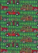 Christmas Green Woody Car Vintage curtain valance