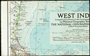 ⫸ 1954-3 March Vintage Original Map – WEST INDIES National Geographic A2