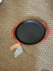LE CREUSET CAST IRON  OVAL GRILL SIZZLE PLATTER RED DOUBLE HANDLE