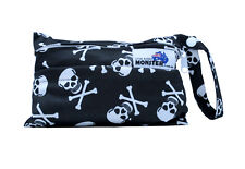 Skulls Mini Wet Bag - for cloth wipes breast pads mumma cloth with double zip