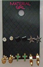 Material Girl Stud Earrings Set Skull Cross Star Spikes Set Of 6 Stud Earrings
