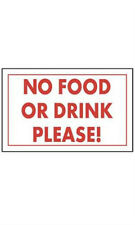 No Food Or Drink Please Policy Sign Card 11 W x 7 H Inches - Case of 10