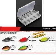 kit 5 mini ondulanti 3g spoon + scatola artificiali pesca trota lago spinning
