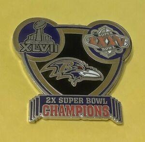 BALTIMORE RAVENS 2X NFL SUPER BOWL XLVII & XXXV CHAMPIONS COLLECTOR PIN
