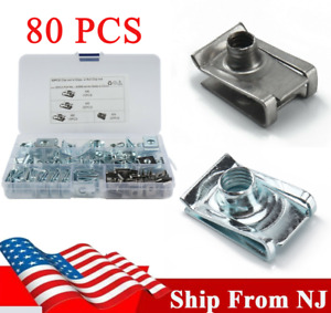 80Pc/Set M4 M5 M6 M8 Spring Clamps U Type Reed Nuts Clip Fastener Assortment Kit