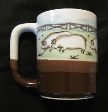 Otagiri Pig/ Pigs on Farm Ceramic Coffee Mug Brown Speckled EUC No Sticker