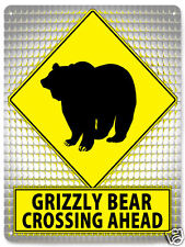 GRIZZLY BEAR METAL STREET SIGN funny educational retro KIDS room wall decor 102