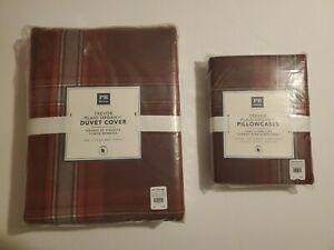 NWT POTTERY BARN TWIN DUVET COVER + 2 PILLOWCASES ORGANIC COTTON