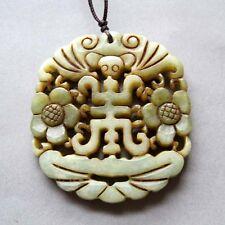 Old Jade Gemstone Happy Lucky Bat Flowers Amulet Pendant Talisman Double Faces