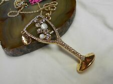 NEW Betsey Johnson Necklace-Brooch-Rhinestone- PARTY COCKTAIL GLASS-B28