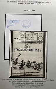 Original Dublin Ireland Air Graph Service 1944 St Patrick Day Cover To Canada