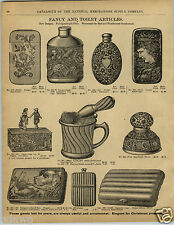 1892 PAPER AD Hunting Dog Quail Tobacco Snuff Box Silver Match Safe Ink Well