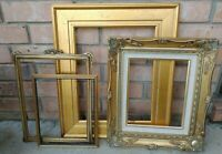 Vintage 4 PICTURE FRAME Lot Recycle Arts Crafts Project Deco gold ornate scroll
