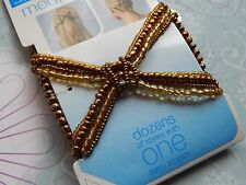 SCUNCI Upzing Medium double comb BROWN GOLD beaded hair pieces Wedding BRIDE