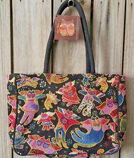 LAUREL BURCH Angel Cat Tapestry Medium Shoulder Bag Purse Tote Handbag