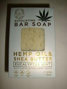 New Earthly Greens Wellness Bath Bar Soap Eucalyptus Mint with Hemp Seeds & Oil