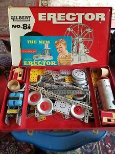 Vintage 1954 A.C. Gilbert No. 8 1/2 Erector Set Rare W/ Case & Booklet