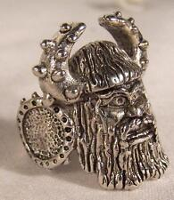 2 DELUXE old VIKING HEAD  SILVER BIKER RING BR30 mens fashion jewelry rings new