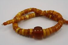 Antiques Royal Baltic amber beads disk tablet RARE necklace egg yolk 皇家琥珀色的蛋黄