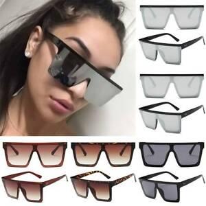 Übergroße Quadratische Sonnenbrille Damen Herren Spiegel Flach Brillen Retro Top