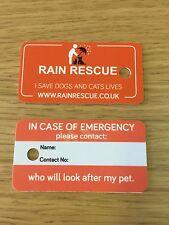 Rescate de lluvia en caso de emergencia Tarjeta de clave para Mascota Perro Gato