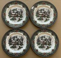 "4 New Royal Stafford Christmas Village Rare 11"" Dinner plates set"
