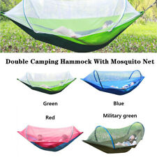 Portable Double Camping Hammock with Mosquito Net Nylon Tent Hanging Bed Durable