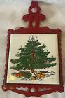 Vintage Cast Iron Metal Tile Christmas Handle Trivet Kitchen Decor