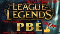 LEAGUE OF LEGENDS PBE ACCOUNTS FOR SALE *CHEAP* *FULL ACCESS* *INSTANT DELIVERY*