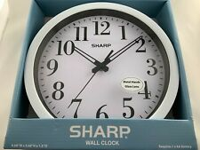 NEW Sharp White Wall Clock With Metal Hands And Glass Lens