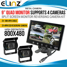 "9"" Quad Split Screen Monitor 2x CCD 4PIN Reversing Backup   Camera Truck Trailer"