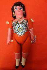 Authentic Mexican Paper Mache Large Lupita Doll Orange Dress Handmade Folk Art