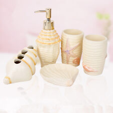 Resin Bathroom Accessory Set Soap Dish Dispenser Tumbler Toothbrush Holder New