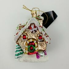 """Robert Stanley Christmas Ornament Glass Large Gingerbread House 4.5"""" NWT"""