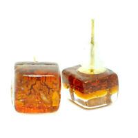 Murano Glass Stud Earrings Orange Gold Handmade Venice