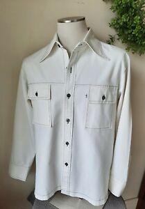 Vintage 70s Levi's Panatela white cotton duck shirt jacket L