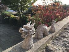 Garden Stone Chinese Dragon,Concrete Garden Ornaments,STUNNING 3 piece Dragon se