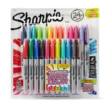 New Sharpie 24 Colour Burst Permanent Markers Fine 1mm Pack of 24 Quick Drying