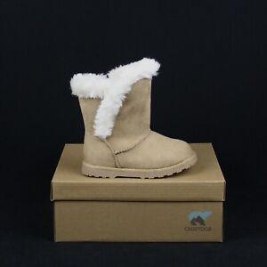 CALISTOGA 100100 TAN Cake POP Tan Snow Boot Vegan Suede Fur Toddler