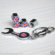 4x Car Wheel Tire British Flag Union Jack Tyre Valve Stem Air Dust Cap & Wrench