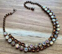 High End! Vintage Topaz & Aurora Borealis Rhinestone Necklace Gorgeous!