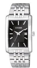 Mens Citizen Quartz Square Silver Stainless Black Dial Date Watch BH1671-55E