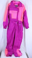 VTG Womens Snow Ski Suit Bib Large One Piece Bright Pink Purple Orng Inside Edge