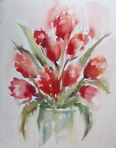Tulips in Glass Jar – limited-edition art print by Diane Antone A4